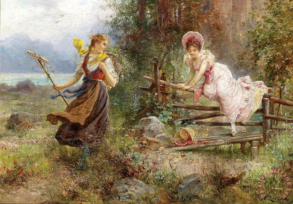 The Berry Picker painting - Hans Zatzka The Berry Picker Art Print