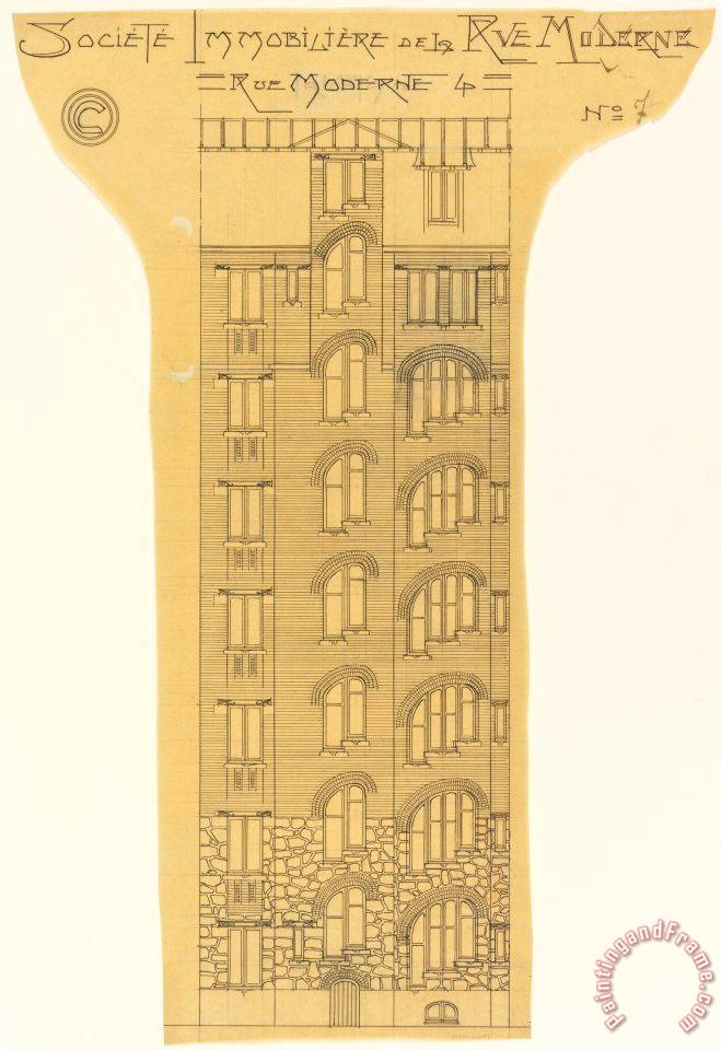 Hector guimard elevation of an apartment building societe for Societe construction immobiliere
