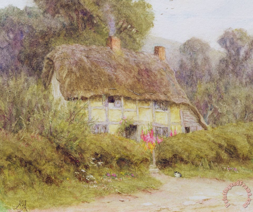 Helen Allingham A Country Cottage Painting A Country