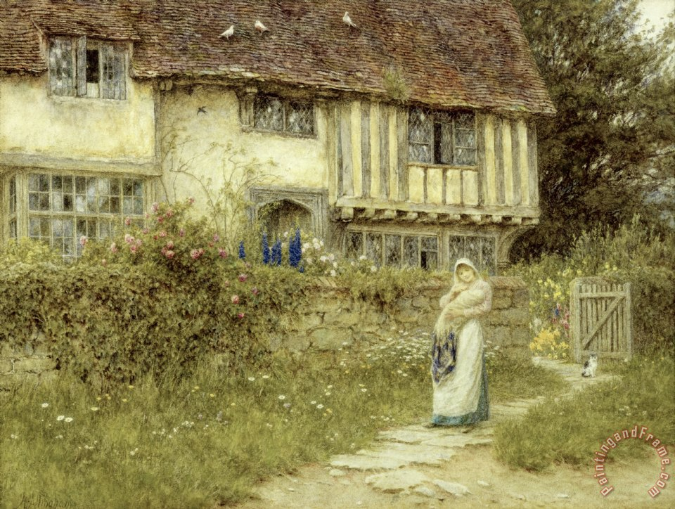 Beside the Old Church Gate Farm Smarden Kent painting - Helen Allingham Beside the Old Church Gate Farm Smarden Kent Art Print