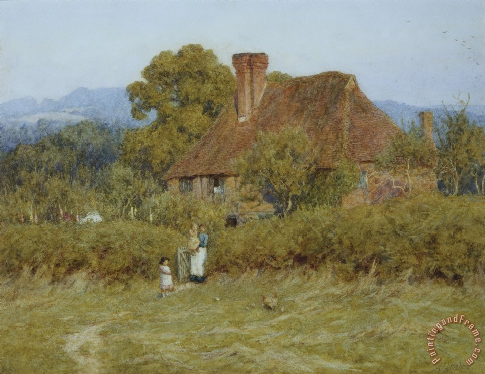 Helen Allingham Cottage at Broadham Green Surrey in Sunset Light Art Painting