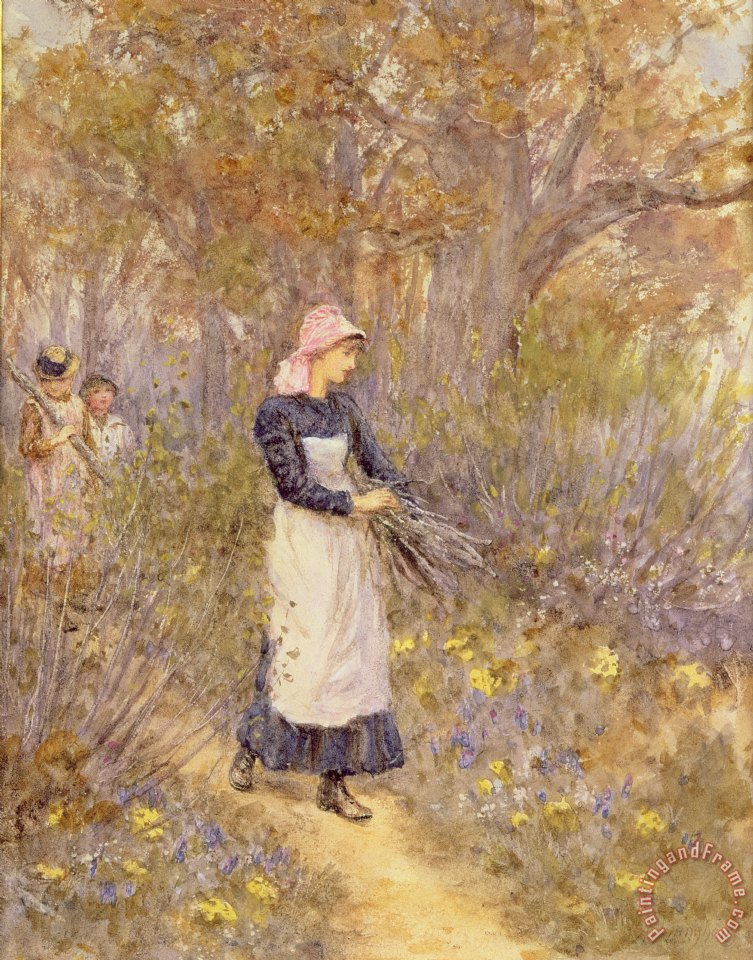 Gathering Wood for Mother painting - Helen Allingham Gathering Wood for Mother Art Print