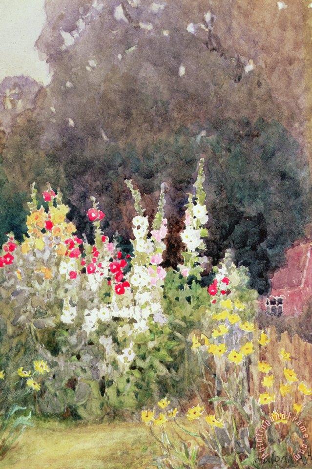 Helen Allingham Hollyhocks Painting Hollyhocks Print For