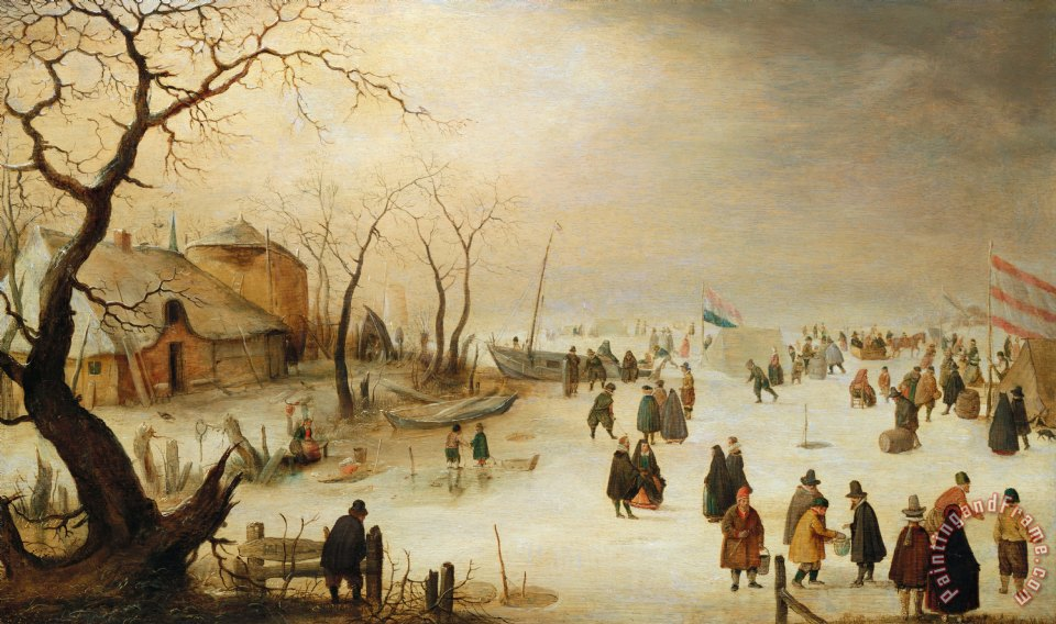 A Winter River Landscape With Figures On The Ice painting - Hendrik Avercamp A Winter River Landscape With Figures On The Ice Art Print