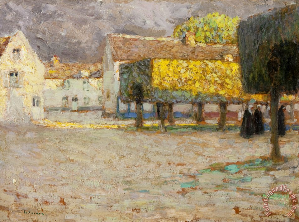 The Road - Songeons painting - Henri Eugene Augustin Le Sidaner The Road - Songeons Art Print