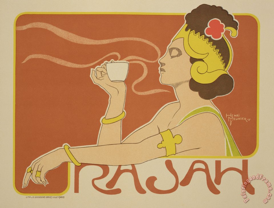 Reproduction Of A Poster Advertising The 'cafe Rajah' painting - Henri Georges Jean Isidore Reproduction Of A Poster Advertising The 'cafe Rajah' Art Print
