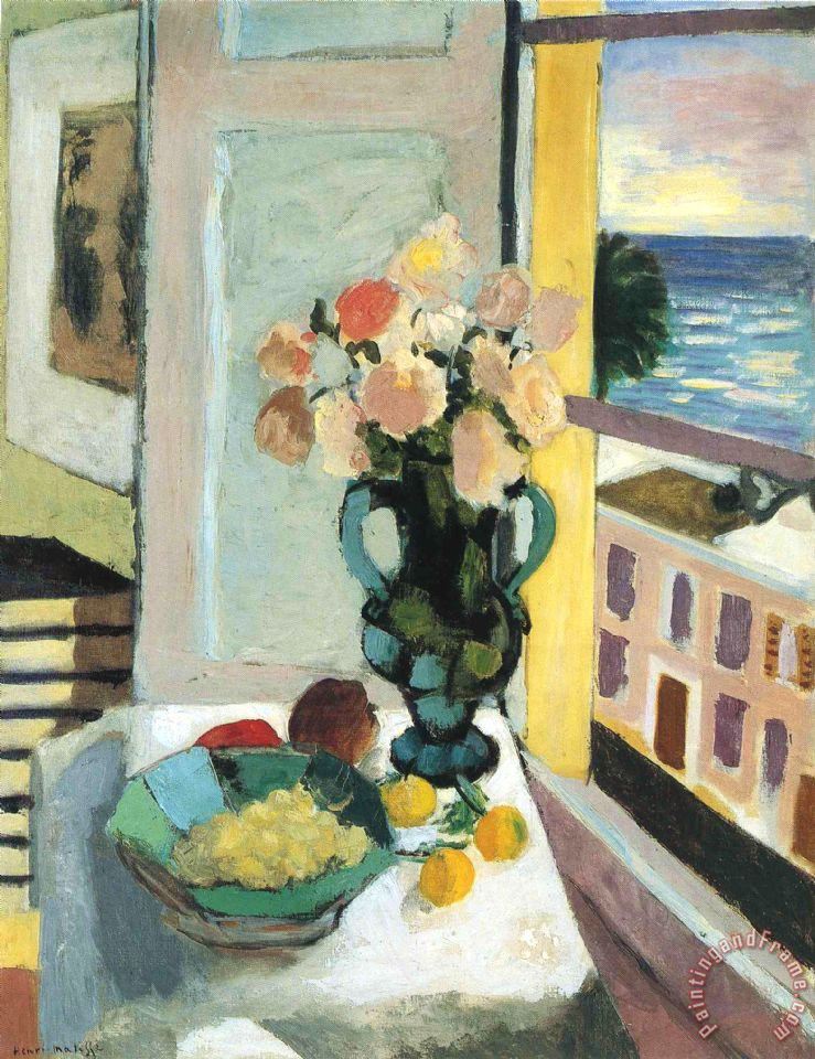 Flowers in Front of a Window 1922 painting - Henri Matisse Flowers in Front of a Window 1922 Art Print