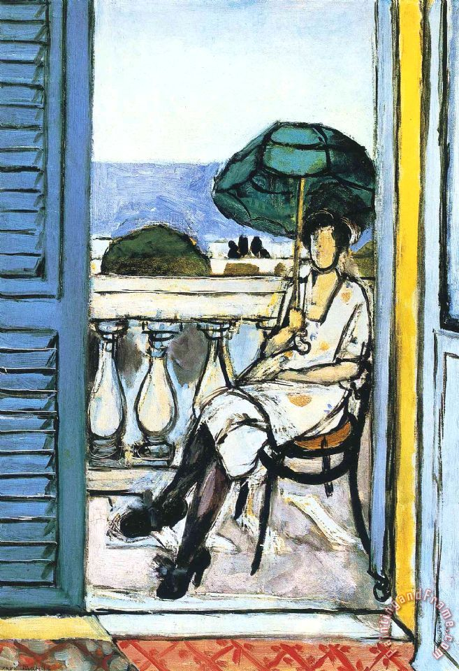 henri matisse woman with a green parasol on a balcony 1919. Black Bedroom Furniture Sets. Home Design Ideas