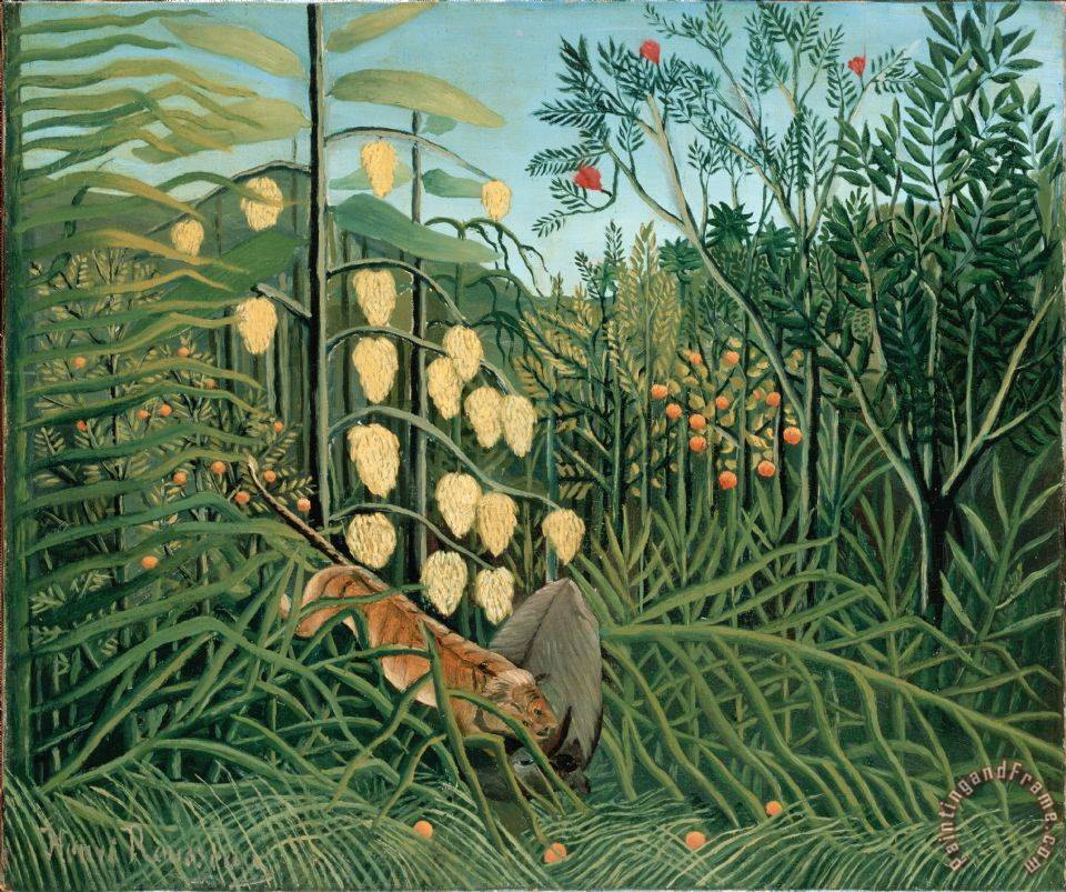 In a Tropical Forest. Struggle Between Tiger And Bull painting - Henri Rousseau In a Tropical Forest. Struggle Between Tiger And Bull Art Print