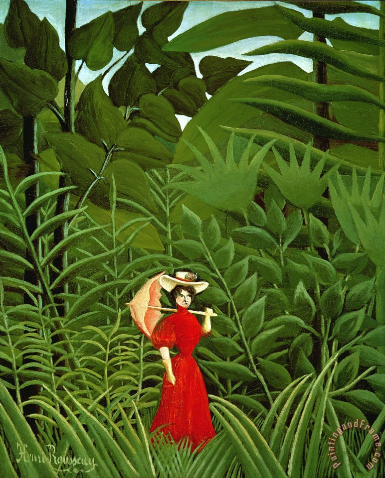 Woman In Red In The Forest painting - Henri Rousseau Woman In Red In The Forest Art Print