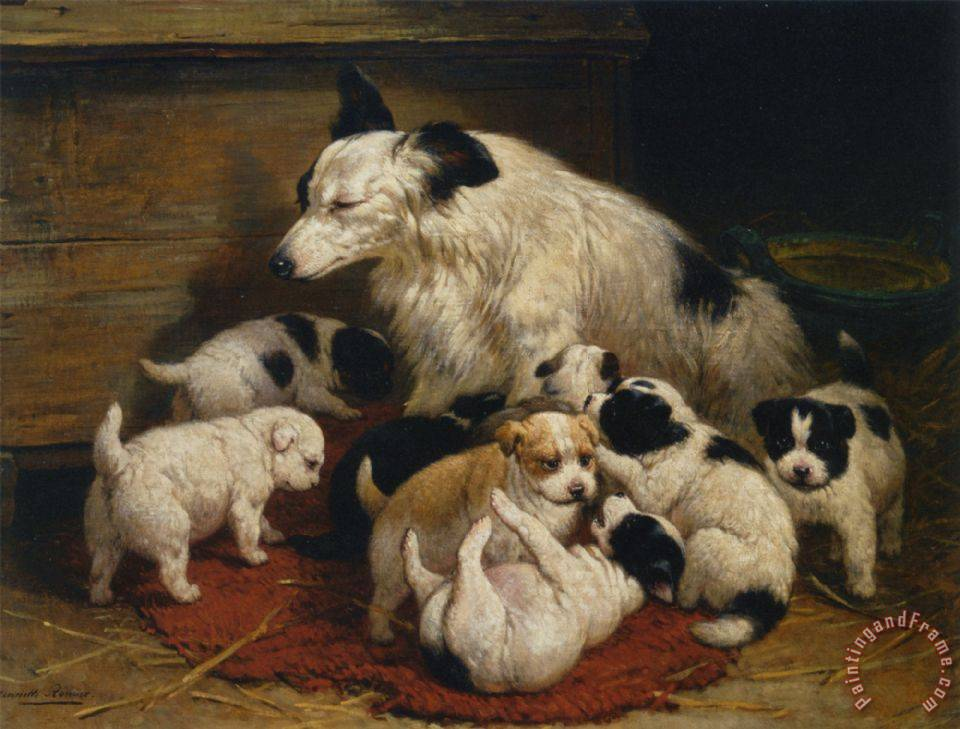 Henriette Ronner Knip A Dog And Her Puppies Painting A Dog And