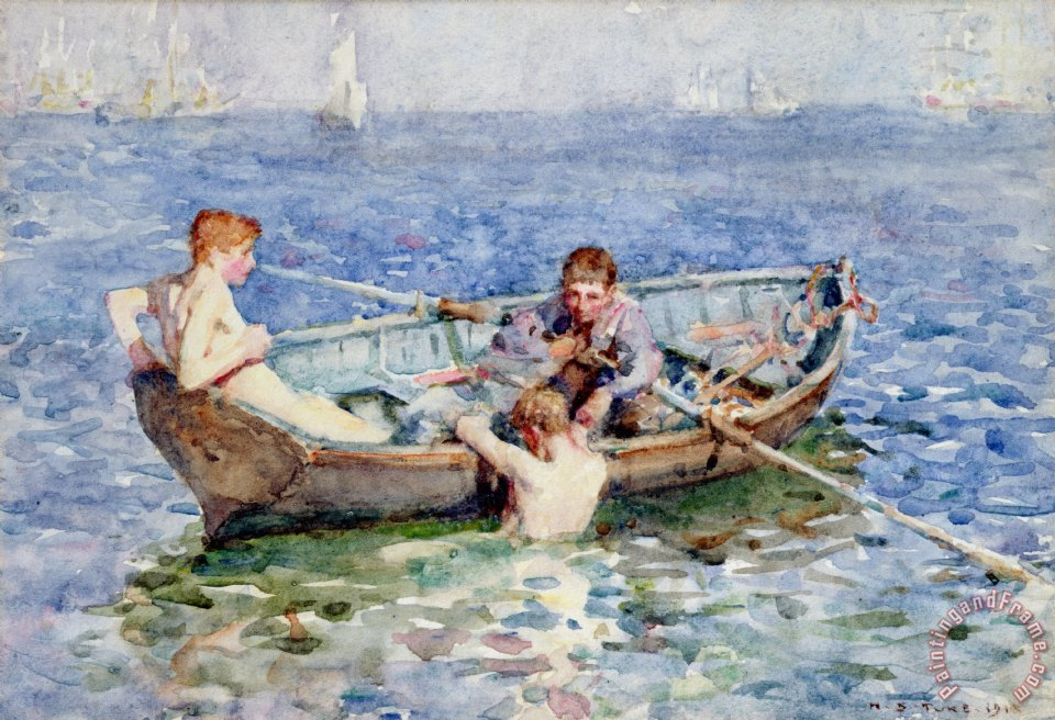 August Blue painting - Henry Scott Tuke August Blue Art Print