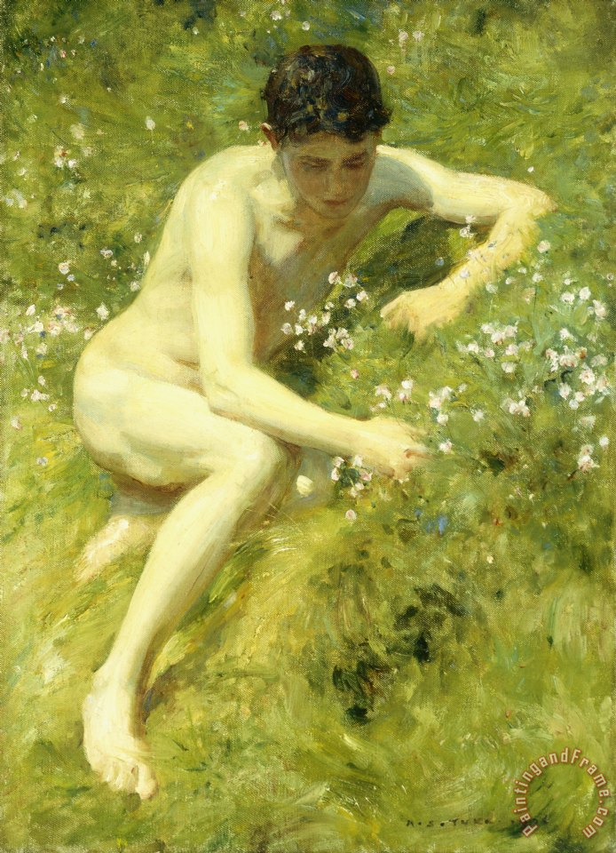 Henry Scott Tuke In the Meadow Art Print