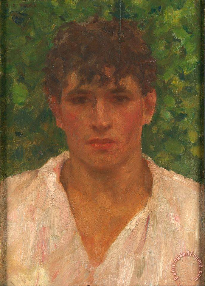 Portrait of a Young Man with Open Collar painting - Henry Scott Tuke Portrait of a Young Man with Open Collar Art Print