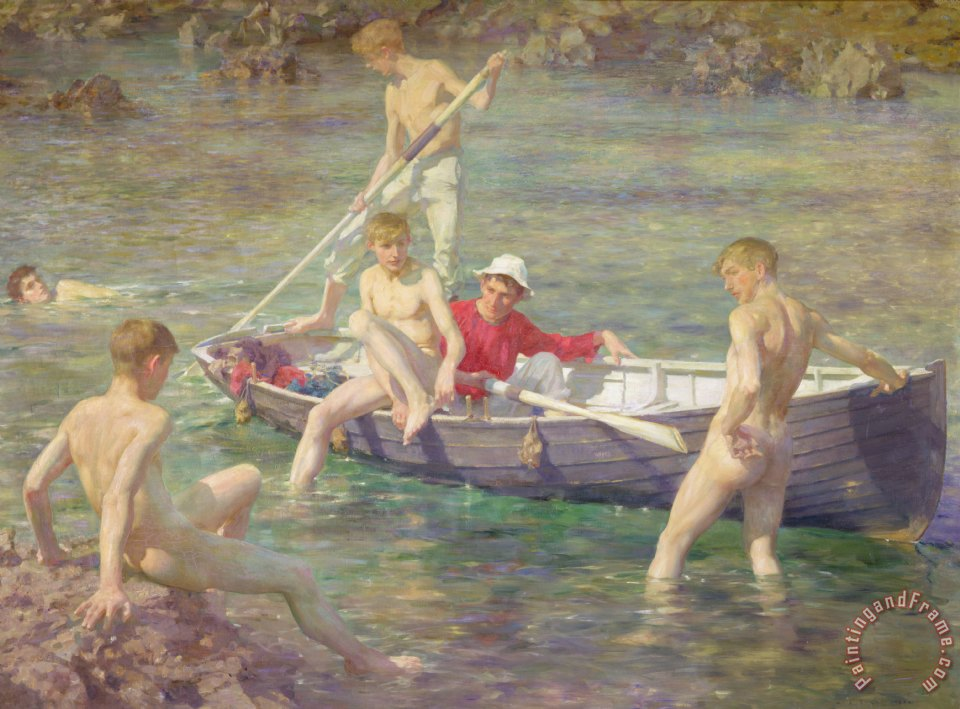 Ruby Gold and Malachite painting - Henry Scott Tuke Ruby Gold and Malachite Art Print