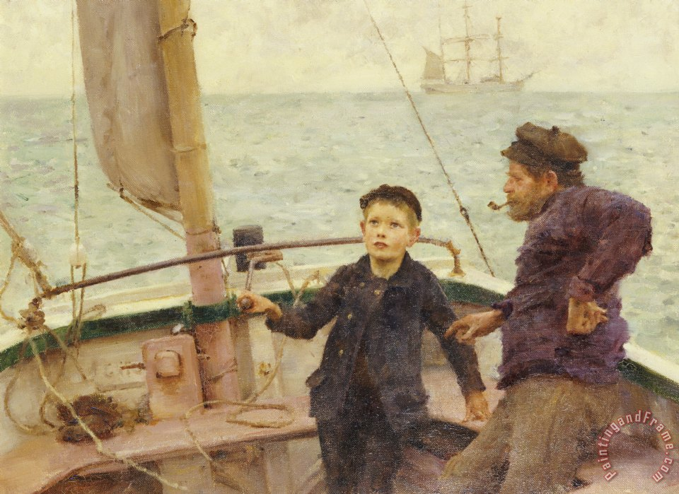The Steering Lesson painting - Henry Scott Tuke The Steering Lesson Art Print