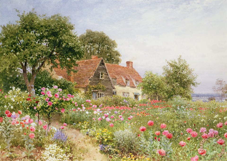 Henry Sutton Palmer A Cottage Garden Art Painting For Sale
