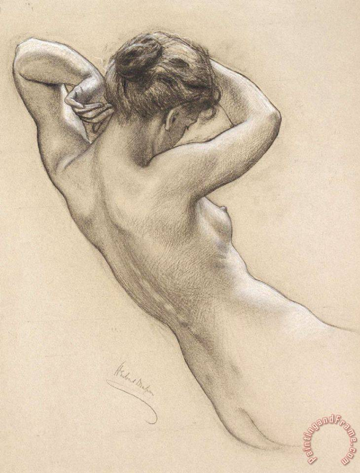 Study of Florrie Bird for a Water Nymph in 'prospero Summoning Nymphs And Deities' painting - Herbert James Draper Study of Florrie Bird for a Water Nymph in 'prospero Summoning Nymphs And Deities' Art Print