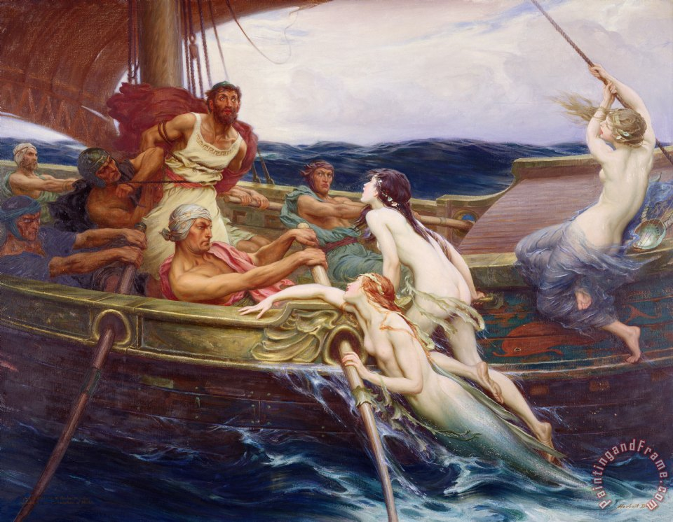 Herbert James Draper Ulysses and the Sirens Art Print