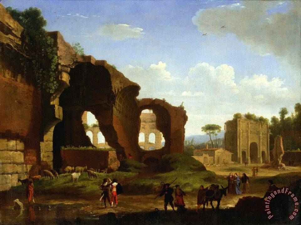 A Roman View of The Ruins of The Temple of Venus And Rome with The Colosseum And The Arch of Constan... painting - Herman Van Swanevelt A Roman View of The Ruins of The Temple of Venus And Rome with The Colosseum And The Arch of Constan... Art Print