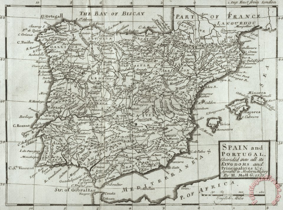 Map Of Spain For Sale.Hermann Moll Antique Map Of Spain And Portugal Painting Antique Map Of Spain And Portugal Print For Sale