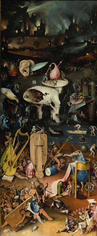 Hieronymus Bosch Garden of Earthly Delights Right Wing painting , Garden of  Earthly Delights Right Wing print for sale