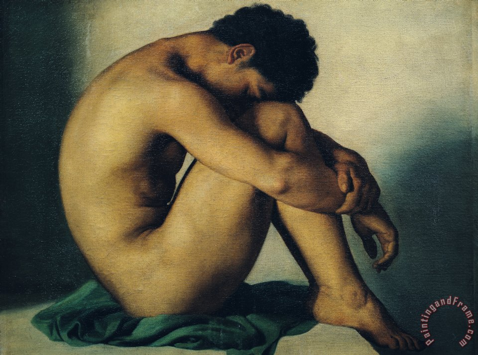 Study of a Nude Young Man painting - Hippolyte Flandrin Study of a Nude Young Man Art Print