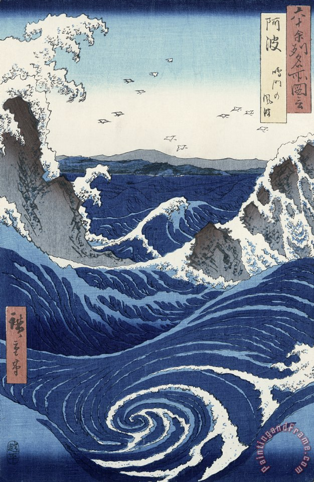 View of the Naruto whirlpools at Awa painting - Hiroshige View of the Naruto whirlpools at Awa Art Print