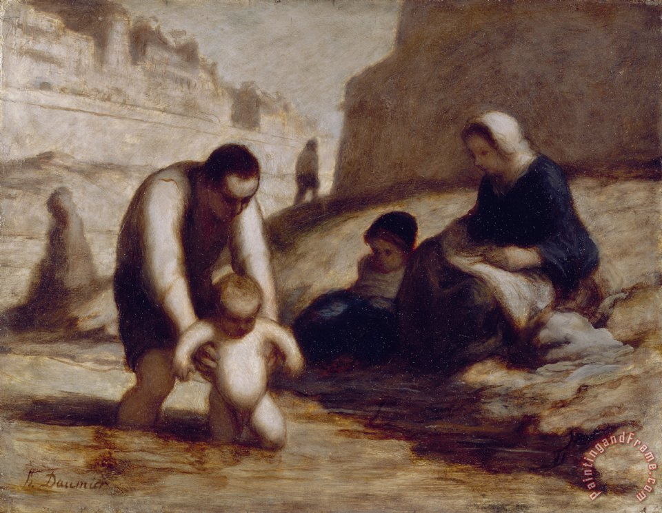 The First Bath painting - Honore Daumier The First Bath Art Print