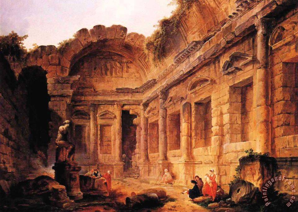 Interior of The Temple of Diana at Nmes painting - Hubert Robert Interior of The Temple of Diana at Nmes Art Print