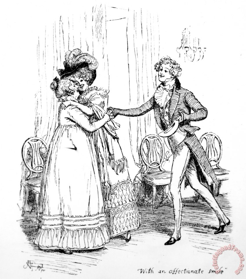 Hugh thomson scene from pride and prejudice by jane austen for Jane austen coloring pages