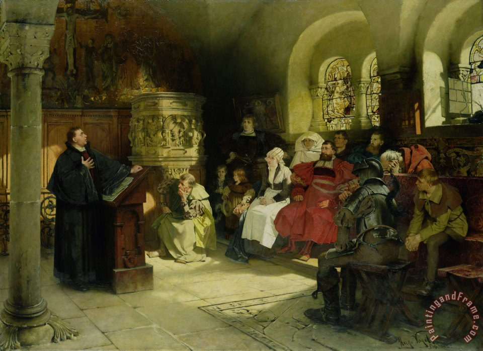 Luther Preaches using his Bible Translation while Imprisoned at Wartburg painting - Hugo Vogel Luther Preaches using his Bible Translation while Imprisoned at Wartburg Art Print