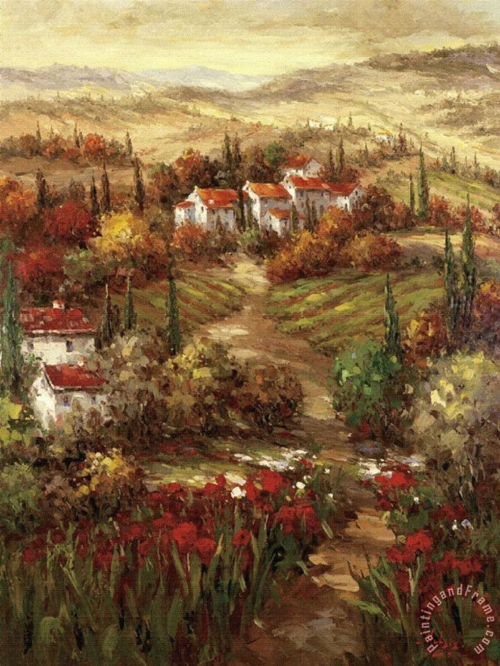 Hulsey Tuscan Village Painting Tuscan Village Print For Sale