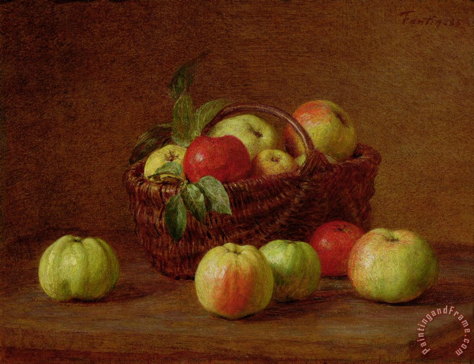 Apples in a Basket and on a Table painting - Ignace Henri Jean Fantin-Latour Apples in a Basket and on a Table Art Print