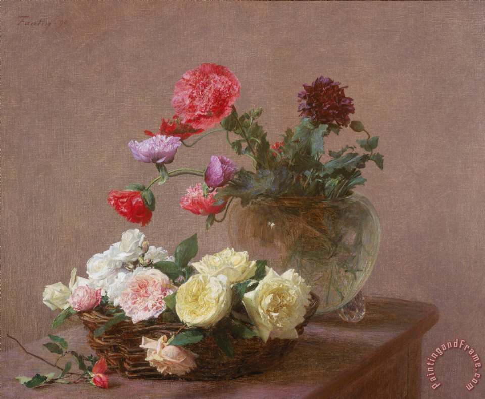 Poppies in a Crystal Vase - or Basket of Roses painting - Ignace Henri Jean Fantin-Latour Poppies in a Crystal Vase - or Basket of Roses Art Print