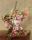 Hollyhocks by Ignace Henri Jean Fantin-Latour