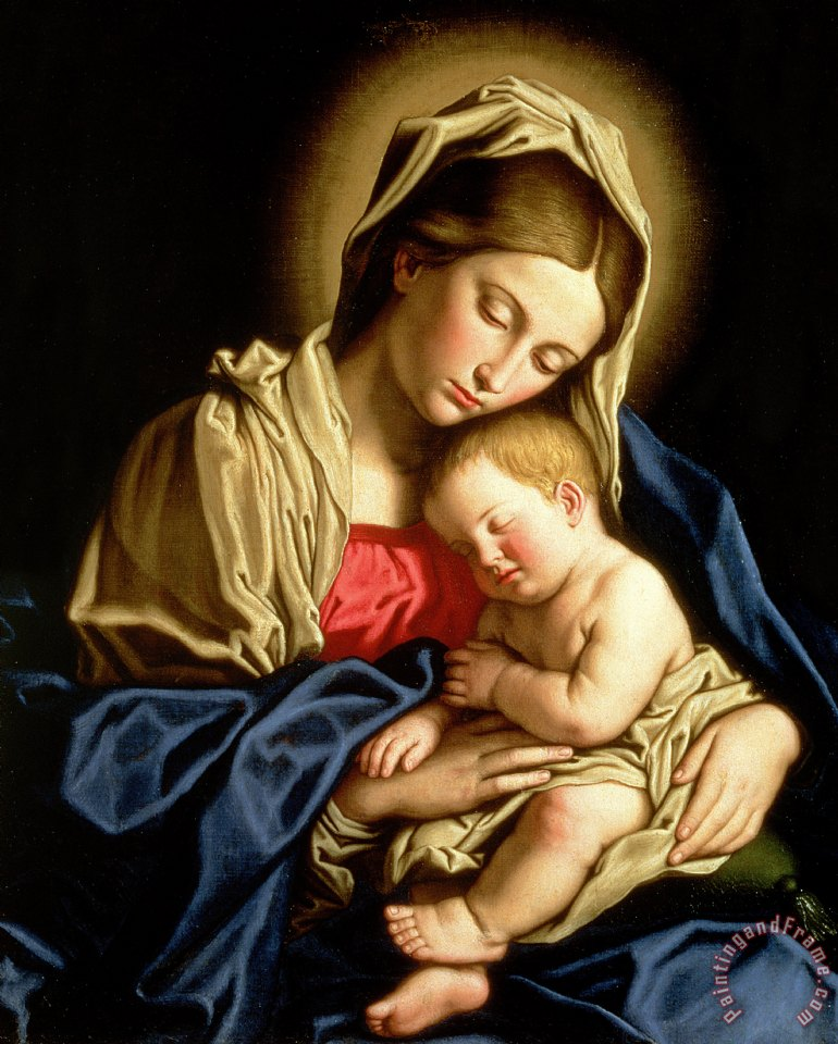 Madonna and Child painting - Il Sassoferrato Madonna and Child Art Print