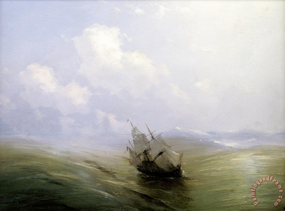 A Sailing Boat in a Heavy Swell painting - Ivan Ayvazovsky A Sailing Boat in a Heavy Swell Art Print