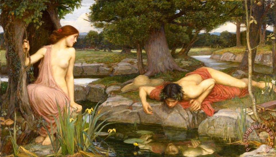 Echo And Narcissus painting - J. W. Waterhouse Echo And Narcissus Art Print