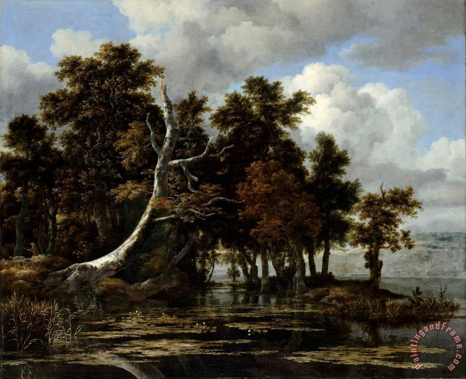 Oaks at a Lake with Water Lilies painting - Jacob Isaacksz. van Ruisdael Oaks at a Lake with Water Lilies Art Print