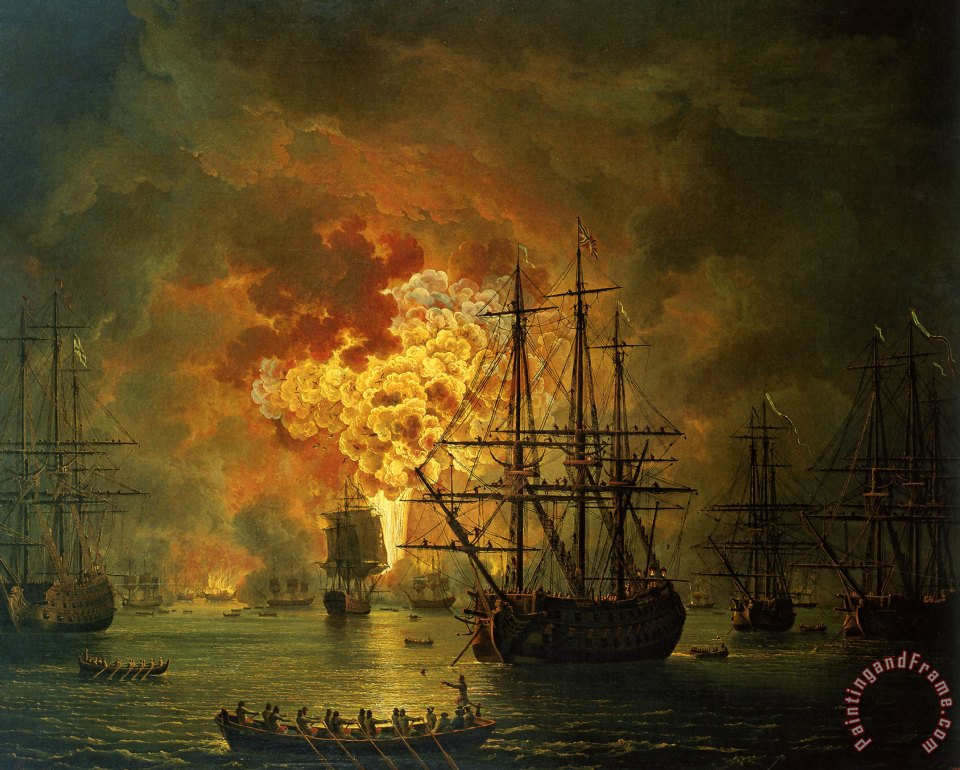The Destruction Of The Turkish Fleet At The Bay Of Chesma painting - Jacob Philippe Hackert The Destruction Of The Turkish Fleet At The Bay Of Chesma Art Print
