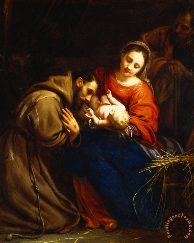 Jacob Van Oost The Holy Family With Saint Francis Painting