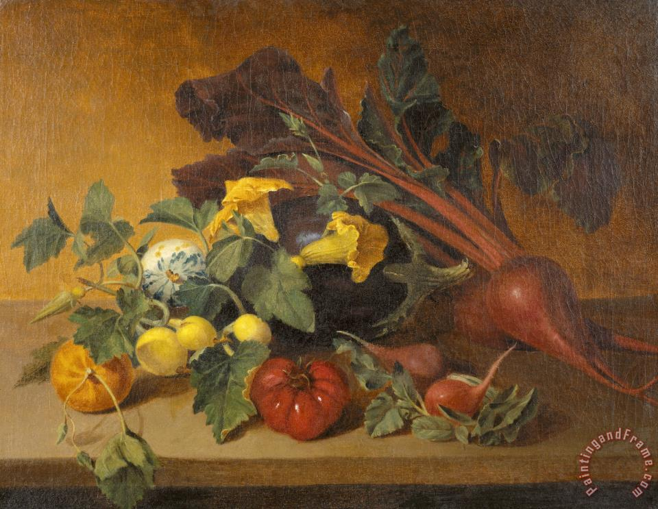 Still Life with Vegetables And Squash Blossoms painting - James Peale Still Life with Vegetables And Squash Blossoms Art Print