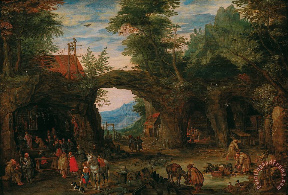 Rocky Landscape With A Mass painting - Jan Brueghel Rocky Landscape With A Mass Art Print