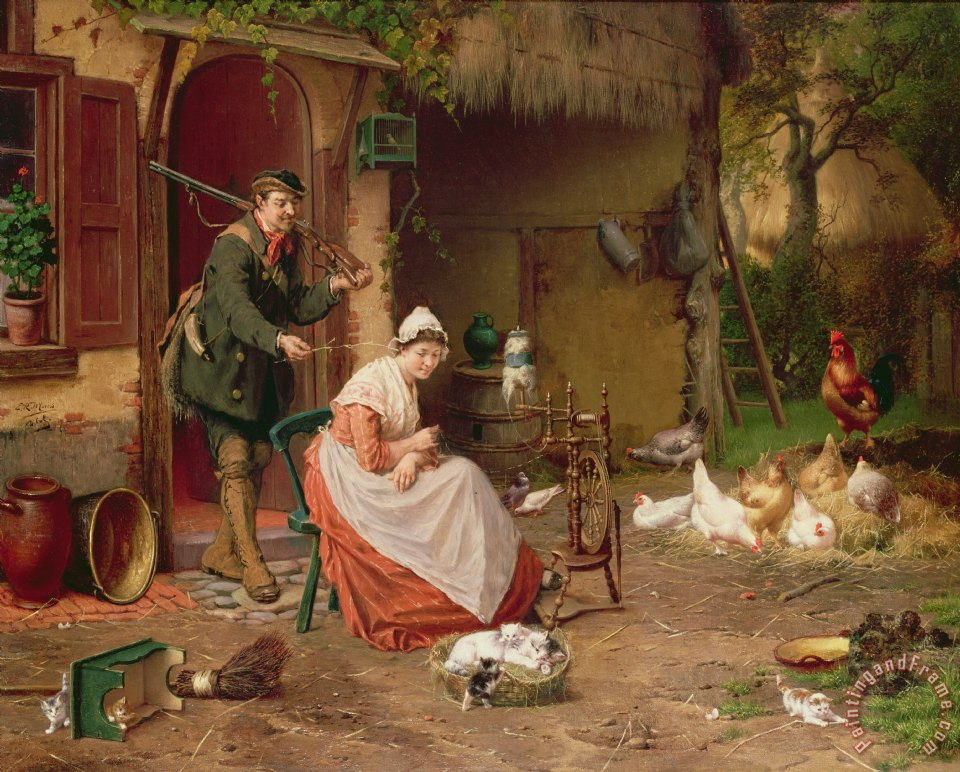 Farmyard Scene painting - Jan David Cole Farmyard Scene Art Print