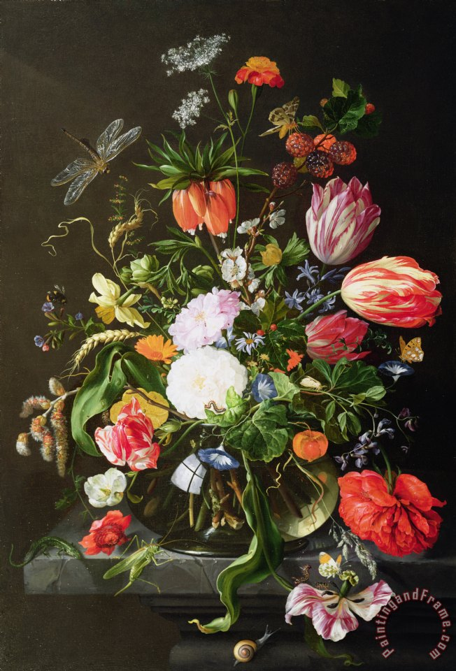 Jan Davidsz de Heem Still Life of Flowers Art Print