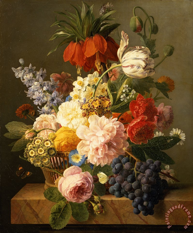 Jan Frans van Dael Still Life with Flowers and Fruit Art Print