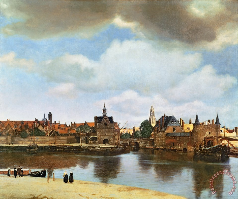 View of Delft painting - Jan Vermeer View of Delft Art Print