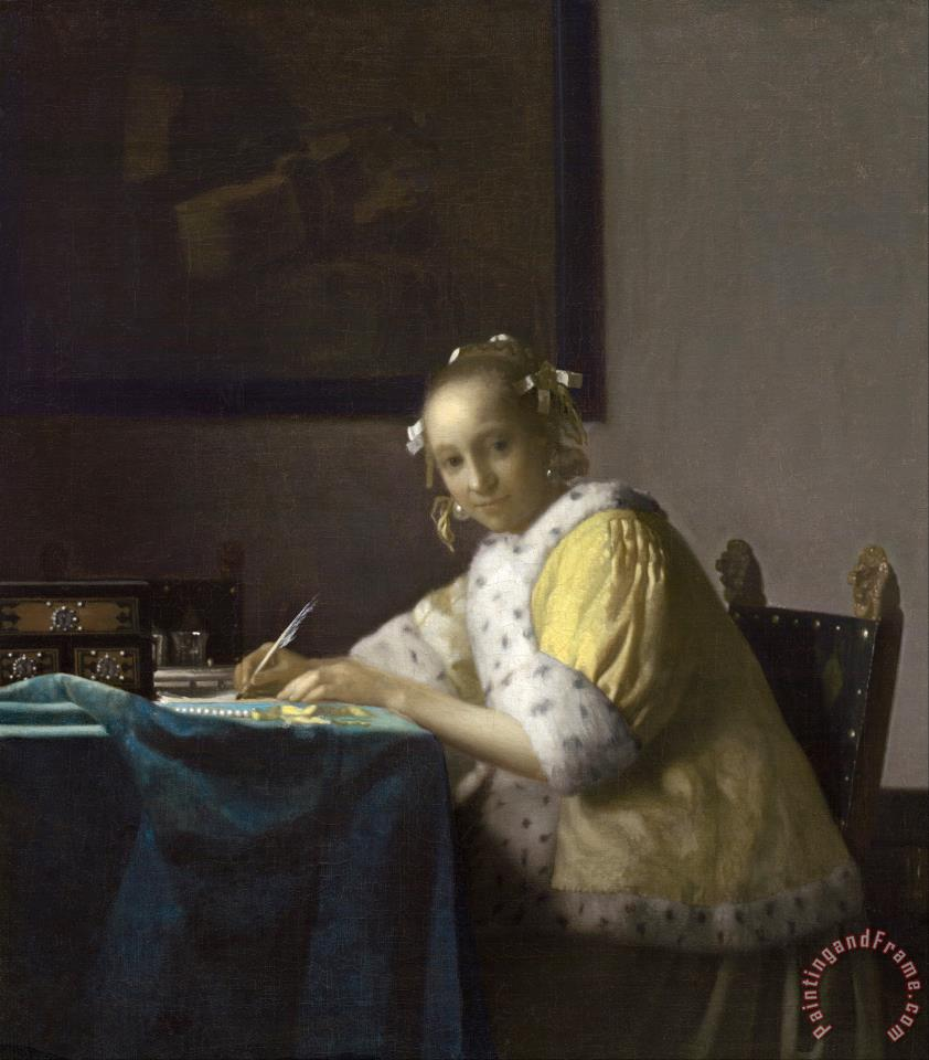 Jan Vermeer A Lady Writing Art Print