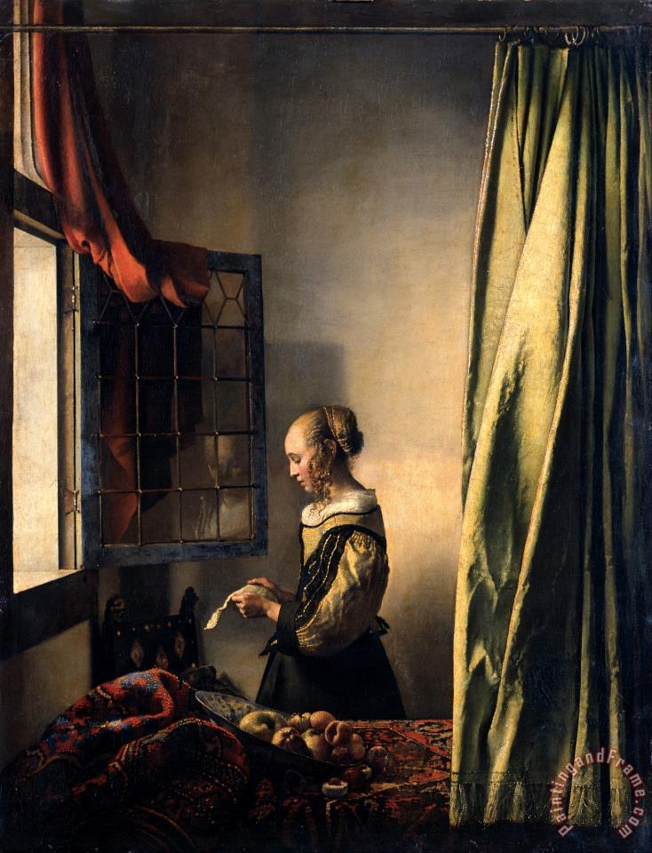 Girl Reading a Letter by an Open Window painting - Jan Vermeer Girl Reading a Letter by an Open Window Art Print